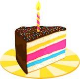 Fetta della torta di compleanno Fotografie Stock Libere da Diritti