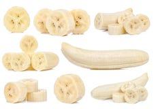 Fetta di banana isolata su fondo bianco Fotografie Stock Libere da Diritti