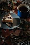 Fetta di dolce con tè Fotografie Stock