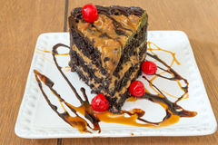 Fetta di dolce del caramello Immagine Stock
