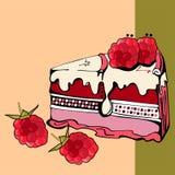 Fetta di dolce del lampone Immagini Stock Libere da Diritti