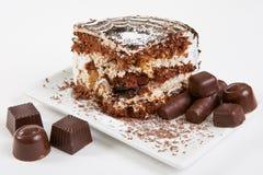 Fetta di dolce di cioccolato Fotografie Stock Libere da Diritti