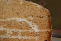 Fetta di dolce di miele stratificato su fondo rustico Fotografia Stock Libera da Diritti