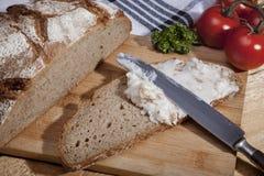 Fetta di pane con lardo Immagine Stock
