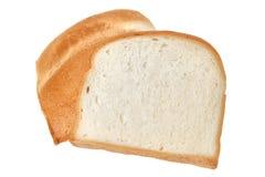 Fetta di pane isolata su fondo bianco Fotografia Stock
