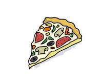 Fetta di pizza appetitosa con i funghi Fotografie Stock