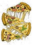 Fetta di pizza con formaggio alimento vegetariano italiano squisito con i pomodori, le olive e la melanzana Contrassegno per il m royalty illustrazione gratis