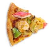 Fetta di pizza con frutti di mare Immagini Stock