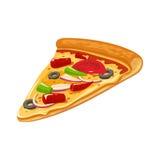 Fetta di pizza messicana Illustrazione piana isolata di vettore per il manifesto, i menu, il logotype, l'opuscolo, il web e l'ico Fotografia Stock