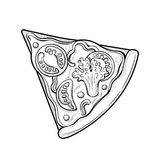 Fetta di pizza Pomodori, broccoli, piselli, formaggio Illustrazione Immagini isolate su fondo bianco illustrazione vettoriale