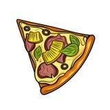 Fetta di pizza Prosciutto, olive, formaggio, ananas Illustrazione Immagini isolate su fondo bianco illustrazione di stock