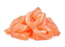 Fetta di salmone isolata su fondo bianco Fotografie Stock