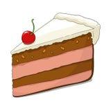 Fetta di torta con la ciliegia Fotografie Stock