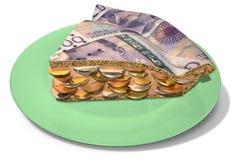 Fetta di torta dei soldi della corona Fotografia Stock