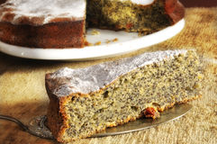 Fetta di torta del papavero Fotografie Stock Libere da Diritti
