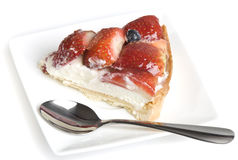 Fetta di torta della fragola Fotografia Stock Libera da Diritti