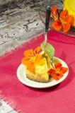 Fetta di torta di formaggio della zucca sul naoking rosso Fotografia Stock