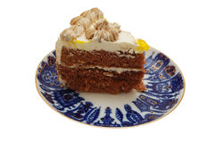 Fetta di torta su una zolla Fotografia Stock Libera da Diritti