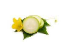 Fetta di verdure del midollo fresco con la foglia ed il fiore isolati Immagine Stock