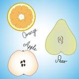Fetta matura fresca tre di arancia, di mela e di pera Immagine Stock