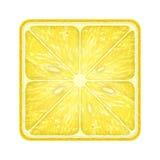 Fetta quadrata di limone Isolato su bianco Fotografia Stock