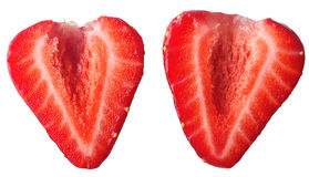 Fetta rossa della fragola isolata su fondo bianco Immagine Stock Libera da Diritti