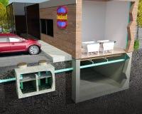 Fettabscheider-/Fett-Blockierillustration Stockfotografie