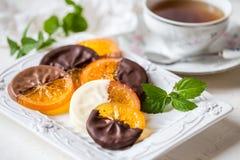 Fette arancio candite in cioccolato Fotografie Stock