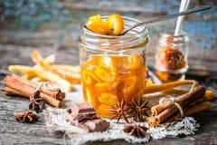Fette arancio candite in cioccolato Fotografia Stock Libera da Diritti