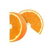 Fette arancio della frutta isolate con clippin Fotografia Stock