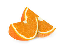 Fette arancio della frutta isolate su un fondo bianco Immagine Stock Libera da Diritti