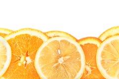 Fette arancio isolate su bianco Fotografia Stock Libera da Diritti