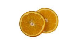 Fette arancio isolate su fondo bianco Fotografia Stock