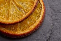 Fette arancio secche appetitose fotografia stock
