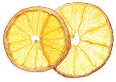 Fette arancio secche della frutta isolate su fondo bianco organico Fotografie Stock Libere da Diritti