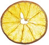Fette arancio secche della frutta isolate su fondo bianco organico Immagine Stock