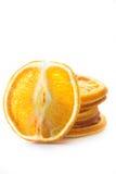 Fette arancio secche isolate Immagine Stock
