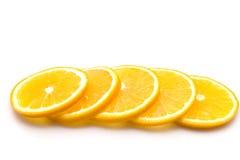 Fette arancioni, isolate. Fotografia Stock