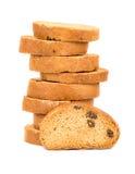Fette biscottate con l'uva passa Immagini Stock