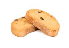 Fette biscottate con l'uva passa Fotografia Stock Libera da Diritti