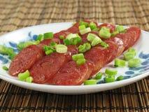 Fette cinesi della salsiccia Immagini Stock
