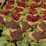 Fette croccanti del pane con i cubi cucinati del pomodoro e della carne tritata, G Fotografie Stock Libere da Diritti