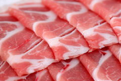 Fette crude del bacon Fotografie Stock Libere da Diritti
