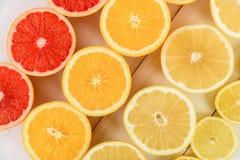Fette degli agrumi dell'arancia, del pompelmo, del limone e della limetta Immagini Stock