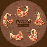 Fette dei caratteri della pizza del fumetto Metta di cinque pizze sveglie degli amanti illustrazione di stock