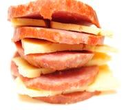 Fette del formaggio e della salsiccia Fotografia Stock Libera da Diritti