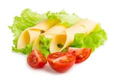 Fette del formaggio su fondo bianco Fotografia Stock Libera da Diritti