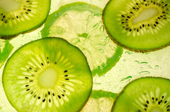 Fette del limone e del kiwi accese parte posteriore Fotografia Stock Libera da Diritti