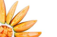 Fette del melone del cantalupo fotografie stock libere da diritti