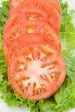 Fette del pomodoro su verde Fotografia Stock